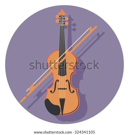 violin flat icon in circle - stock vector
