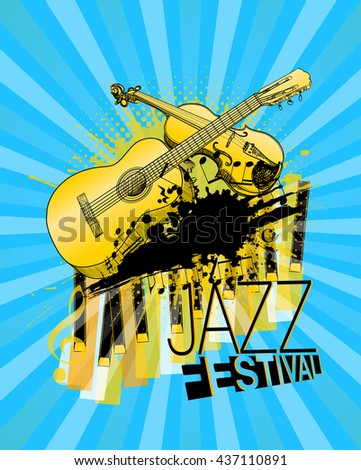 violin, guitar and piano jazz festival poster. vector illustration - stock vector