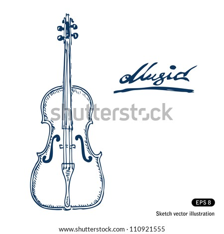 Violin. Hand drawn sketch illustration isolated on white background - stock vector