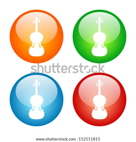 Violin Icon Vector Glass Button Icon Set - stock vector