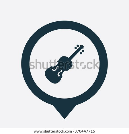 violin Icon Vector. violin Icon Art. violin Icon Picture. violin Icon Image. violin Icon logo. violin Icon Sign. violin Icon Flat. violin Icon design, on white background map pin - stock vector