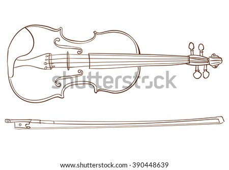 Violin outline drawing, contour live. Brown line. Isolated on white VECTOR sketch - stock vector