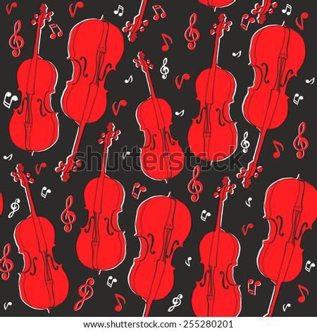 Violin pattern. - stock vector