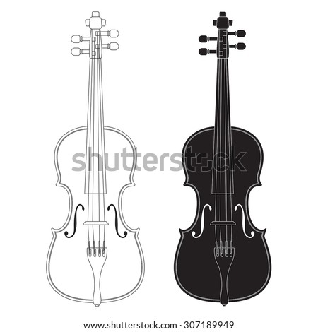 Violin. Vector isolated on white