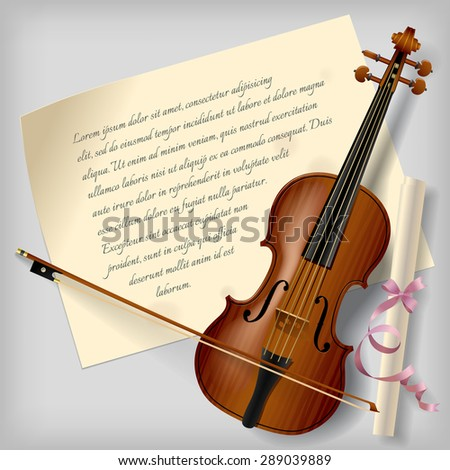 Violin with a paper sheet on a gray background. Vintage artistic blank. Vector Illustration - stock vector