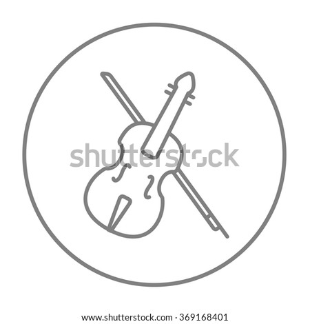 Violin with bow line icon. - stock vector