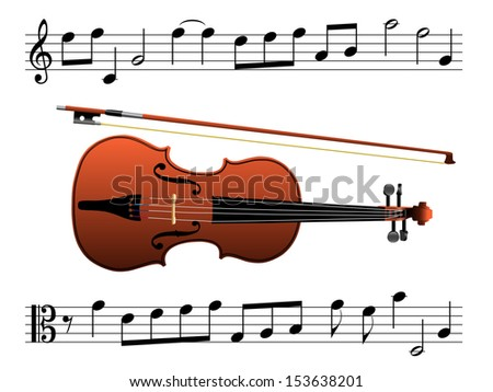 Violin with music notes eps8 - stock vector