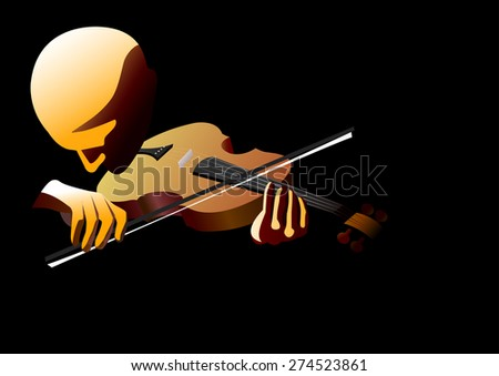 violinist performing  - stock vector