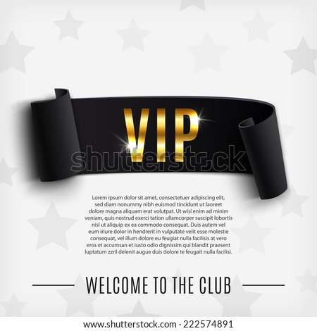VIP background with realistic black curved ribbon. Vector illustration - stock vector