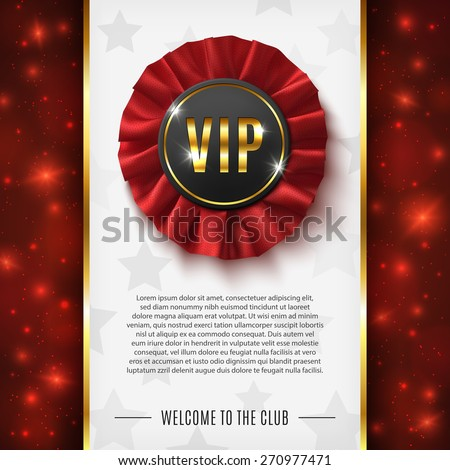 VIP background with realistic, red, fabric award ribbon. Vector illustration. - stock vector