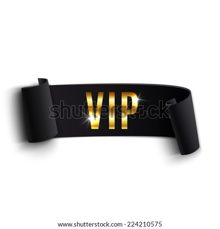 Vip Black Curved Ribbon