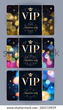 VIP cards with abstract bokeh glow background. Different cards categories. Members only design. - stock vector