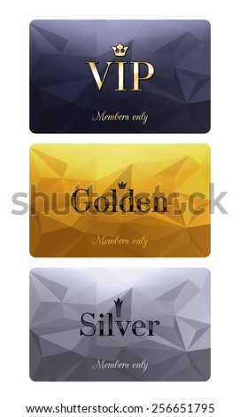 VIP cards with abstract mosaic background. Different cards categories - VIP, golden, silver. Members only design. - stock vector