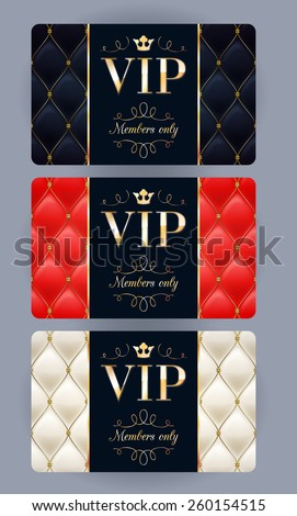 VIP cards with abstract quilted background. Different cards categories. Members only design. - stock vector