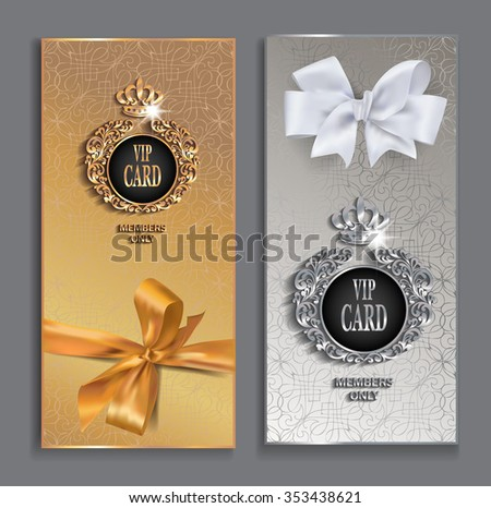 VIP cards with gold design elements and silk ribbons - stock vector