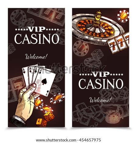 Vip casino color vertical banners with image of hand with playing cards roulette and chips in sketch style vector illustration  - stock vector