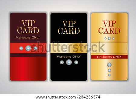 Vip Club Card Design Templates With Crystals. Vector Illustration.  Club Card Design