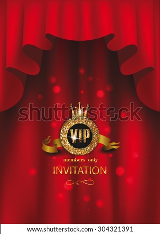 VIP elegant background with red curtains - stock vector