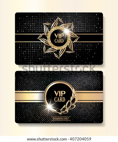VIP gold cards with elegant flourishes and textured background - stock vector