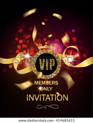 VIP invitation card with gold confetti and ribbon and glowing background - stock vector