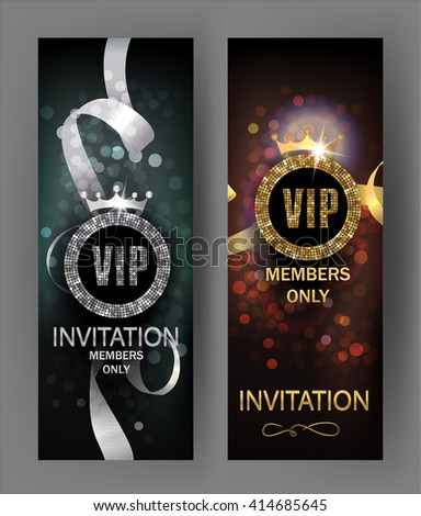 VIP invitation cards with gold and silver ribbons and glowing background - stock vector