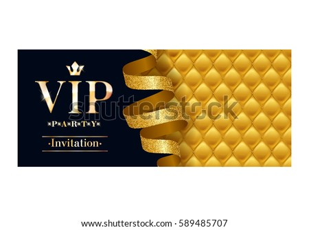 Vip party premium invitation card poster em vetor stock 589485707 vip party premium invitation card poster flyer black and golden design template quilted yellow stopboris Gallery
