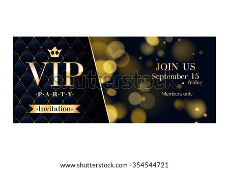 Vip party premium invitation cards posters stock vector royalty vip party premium invitation cards posters flyers black and golden design template set glow spiritdancerdesigns Image collections