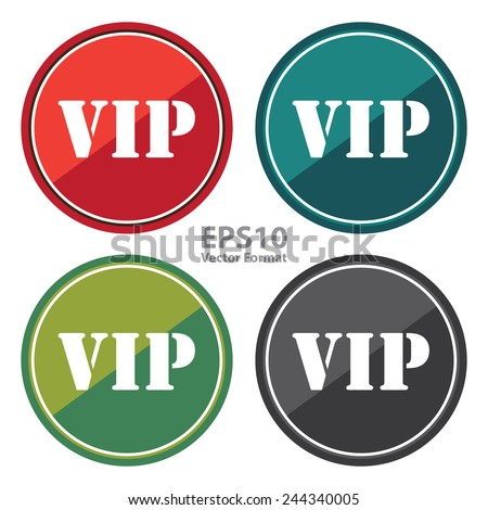 VIP sign on black circle icon, button, label isolated on white, vector format - stock vector