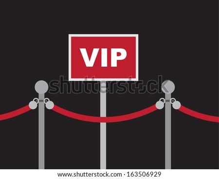 VIP sign with surrounding red rope  - stock vector