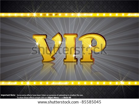VIP Write in gold shining font - stock vector
