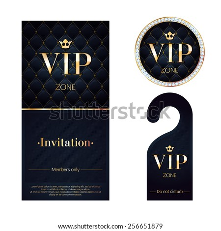 VIP zone members premium invitation card, warning hanger and round label badge. Black and golden design template set. Quilted texture, diamonds and metal. - stock vector