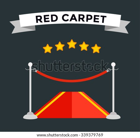 VIP zone red carpet vector illustration. Event enter with star. Success, theater, luxury, VIP. Vector Red Carpet isolated dark background. Red carpet vector movie cinema stars.Museum place red carpet - stock vector