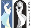 Virgin Mary holding baby Jesus, art nouveau style illustration , in full color and black and white. - stock vector