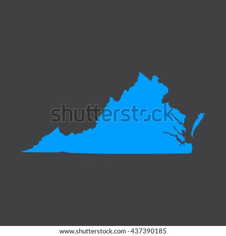 Virginia blue map,border on black  background. Vector illustration. - stock vector