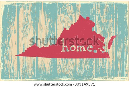 Virginia nostalgic rustic vintage state vector sign - stock vector