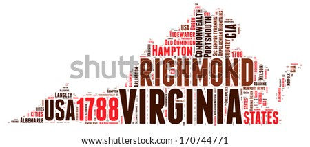 Virginia USA state map vector tag cloud illustration - stock vector