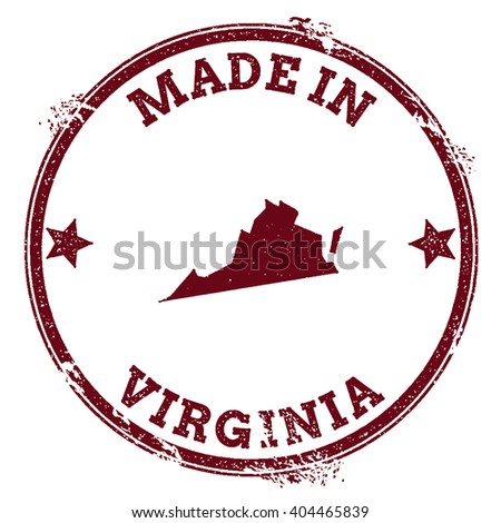Virginia vector seal. Vintage USA state map stamp. Grunge rubber stamp with Made in Virginia text and USA state map, vector illustration. - stock vector
