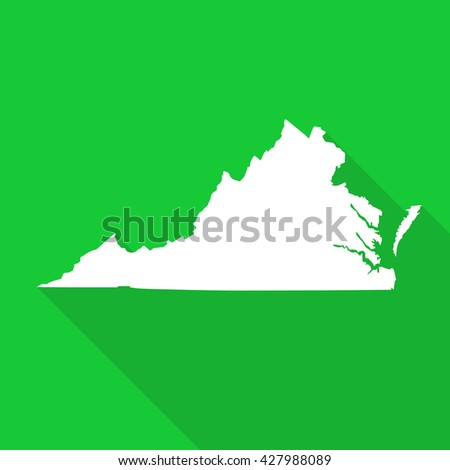 Virginia white map,border flat simple style with long shadow on green background - stock vector