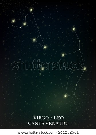 Virgo, Leo and Canes Venatici constellation - stock vector