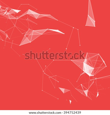Virtual abstract background with particle, molecule structure. genetic and chemical compounds. creative vector. Space and constellations. Science and connection concept. Social network. Red and white - stock vector