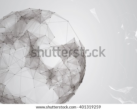 Virtual abstract background with particle, molecule structure. genetic globe chemical compounds. creative vector. Space and constellations. Science and connection concept. Social network. Grey banner - stock vector