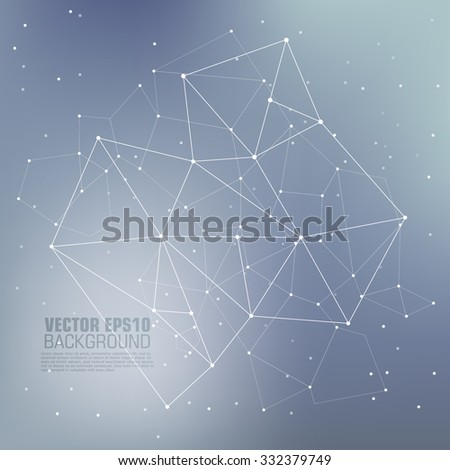 Virtual abstract background with particle, molecule structure. Science and connection concept. Social network. Abstract background with connecting dots and lines. Connection structure.  - stock vector