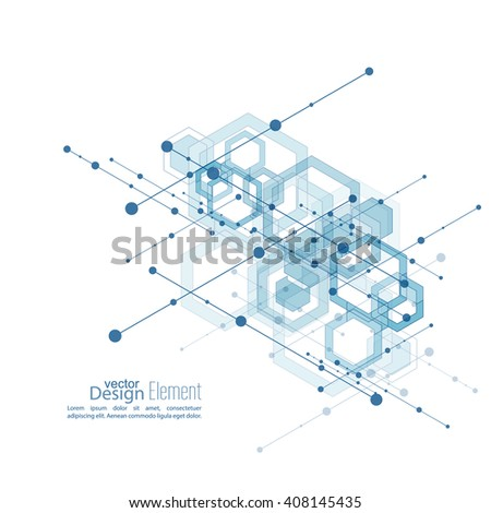 Virtual abstract background with particle, molecule structure with transparent cubes, hexagons carcass. genetic and chemical compounds. Science and connection concept. Social network. vector - stock vector