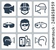 Virtual and augmented reality vector icon set - stock photo