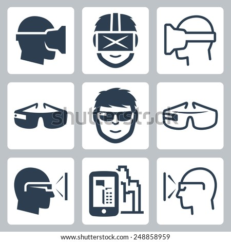 Virtual and augmented reality vector icon set - stock vector