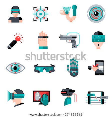 Virtual augmented reality devices and software apps icons set isolated vector illustration - stock vector