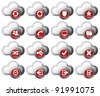 Virtual cloud icons Set 2 Red - stock vector