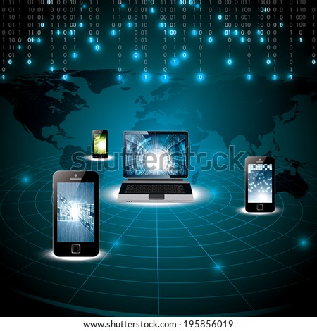 Virtual digital world concept dark blue matrix - stock vector