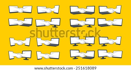Virtual handshake after signing an agreement - stock vector