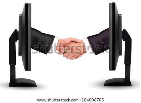 Virtual handshake. Internet working concept. vector - stock vector